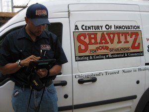 Shavitz technician with iPad