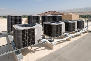 rooftop of a commercial building with hvac units on top