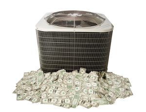 air conditioning unit sitting on pile of money